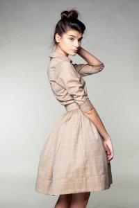 Beige Woolen Dress by Mrs Pomeranz
