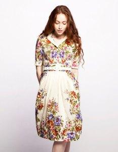 MARIA - shirtwaist dress made of woolen shawl by Mrs Pomeranz