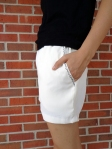 3 White Jessica shorts with black pocket embroidery (Schnittchen Patterns) handmade by Conniya.